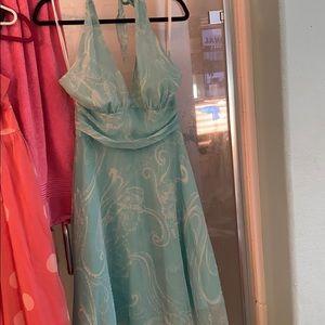 Beaded aqua blue halter dress size 10